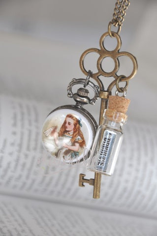 Alice Key To The Garden - Drink Me Bottle Key Pocket Watch Necklace