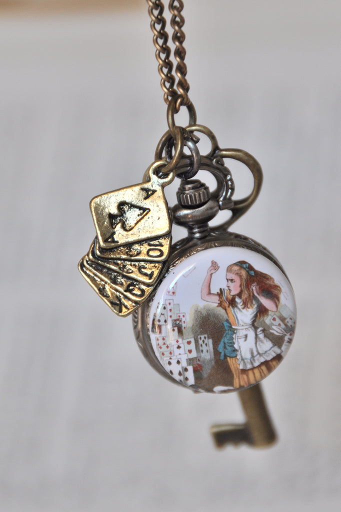 Alice's Card Attack - Pocket Watch Necklace with Key