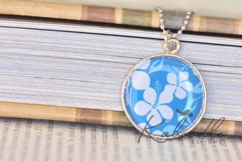 Handmade 25mm Resin Necklace - Aloha in Blue Floral