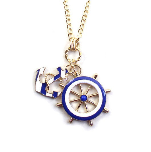 Anchor and Wheel Nautical Enamel Quirky Necklace