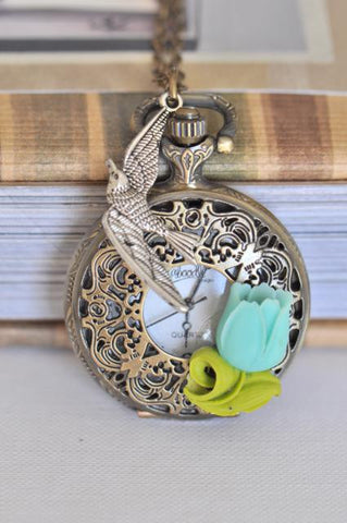 Aqua Tulips - Pocket Watch Necklace