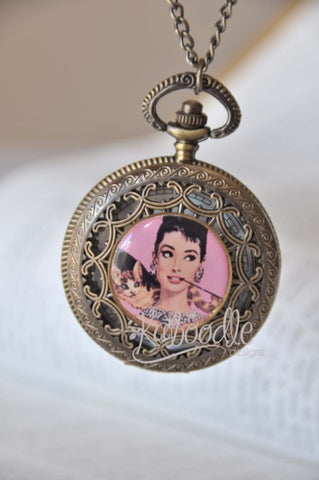Audrey Hepburn - Large Pocket Watch Necklace