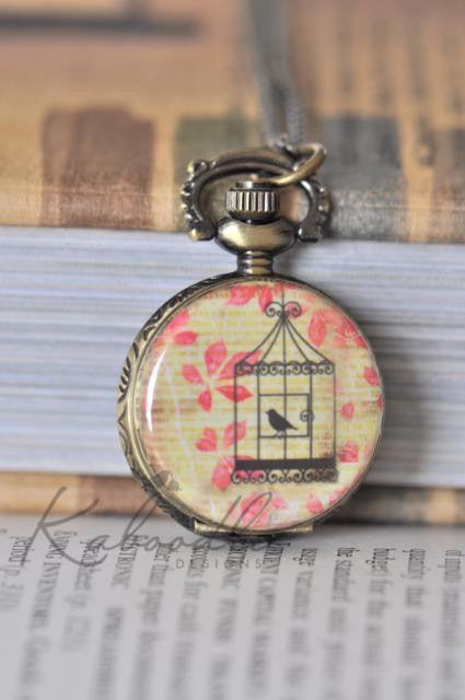 Autumn Bird Cage Pocket Watch Necklace