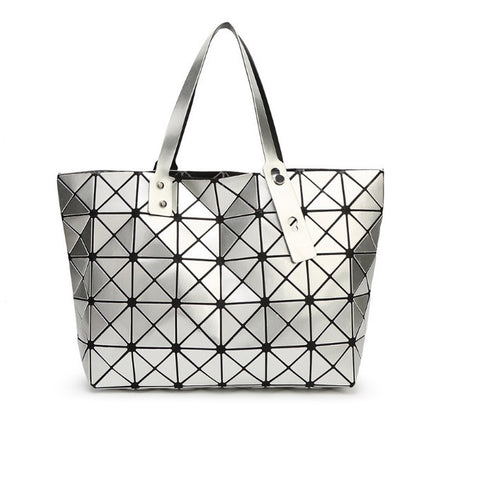 Geometric Prism Tote Shoulder Bag - Silver