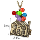 Up Movie Flying Balloon House Locket Necklace