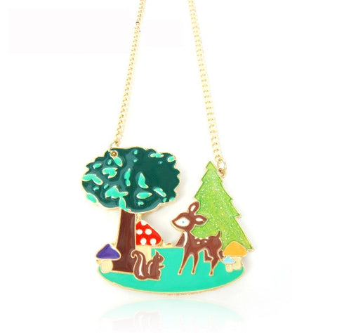 Bambi in the Woods Enamel Necklace