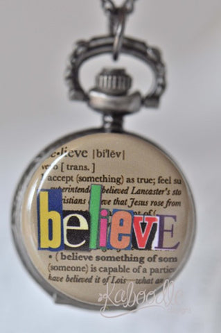 Believe Script - Pocket Watch Necklace