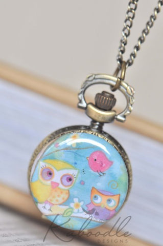 Bird and Owls Friends - Pocket Watch Necklace
