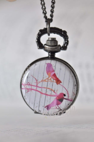 Bird Art - Pocket Watch Necklace