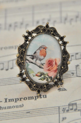 Shabby Chic Vintage Bird In Blooms Ring