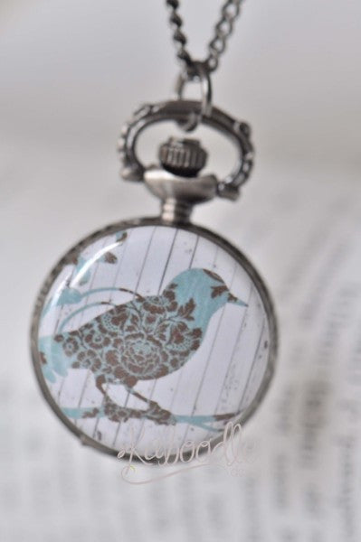Bird on A Panel - Pocket Watch Necklace