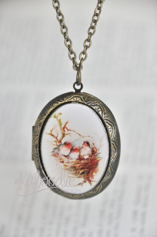 Bird Sanctuary Oval Photo Locket Necklace