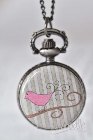 Bird Wall Art - Pocket Watch Necklace