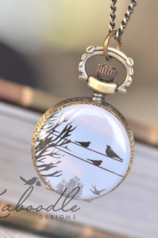 Birds on a Line - Small Pocket Watch Necklace