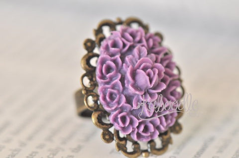 Blooming Purple - Vintage Flower Ring