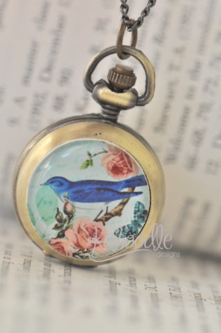Blue Bird with Roses - Pocket Watch Necklace