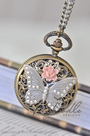 Butterfly Blooms in Bronze - Large Pocket Watch Necklace