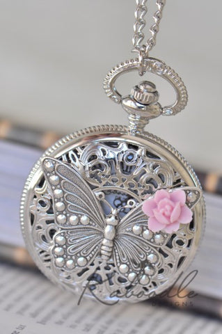 Butterfly Blooms in Silver - Large Pocket Watch Necklace