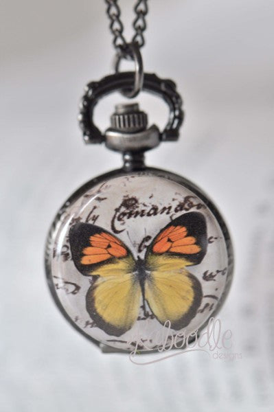 Butterfly Script - Pocket Watch Necklace