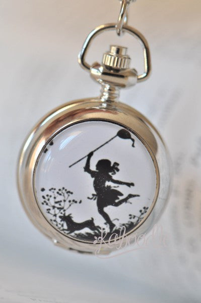 Silhouette Girl Chasing Butterfly - Handmade Pocket Watch Necklace in Silver