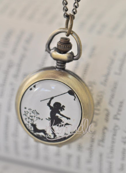 Silhouette Girl Chasing Butterfly - Handmade Pocket Watch Necklace