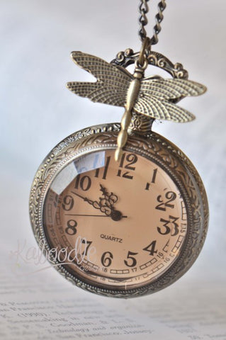 Charming Dragonfly - Pocket Watch Necklace