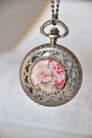 Crimson Bouquet - Large Pocket Watch Necklace