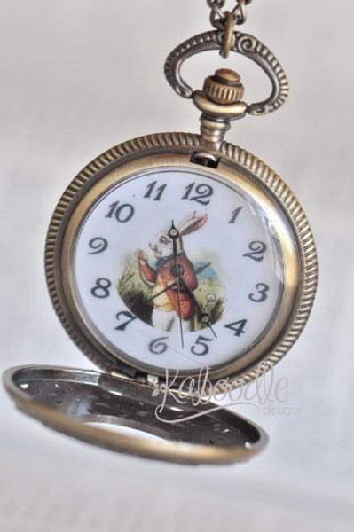 I'm Late I'm Late - White Rabbit Pocket Watch Necklace