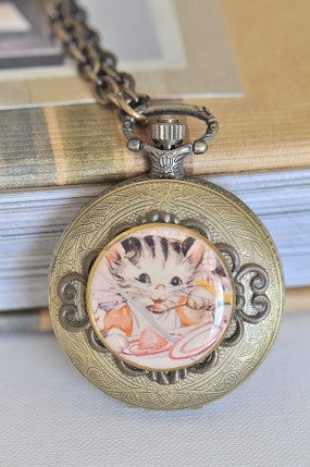 Lucy's Cat - Pocket Watch Necklace