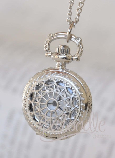 Tranquility in Silver - Small Pocket Watch Necklace