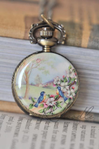 A Lovely Day - Handmade Pocket Watch Necklace