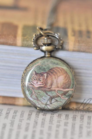 Cheshire Cat - Pocket Watch Necklace