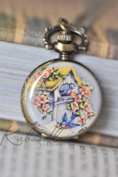 Whimsical Sparrow - Pocket Watch Necklace