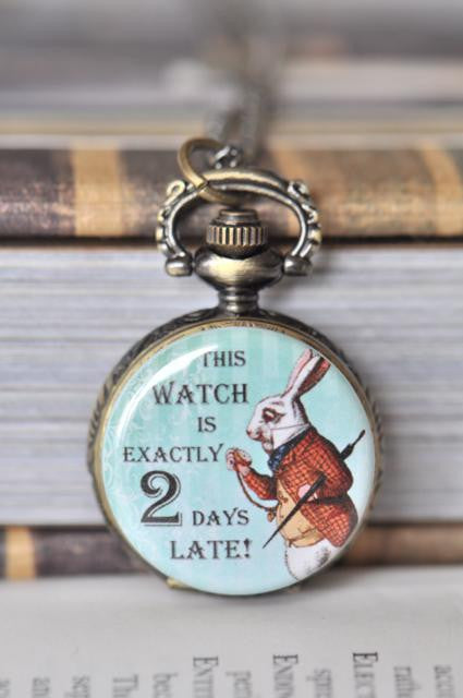 White Rabbit Two Days Late - Pocket Watch Necklace
