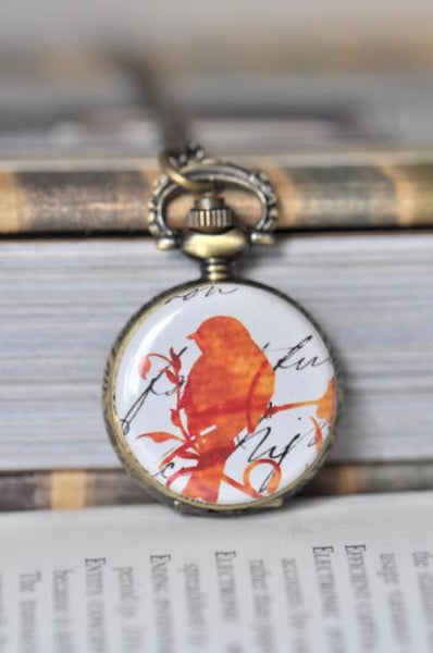 Retro Orange Bird Pocket Watch Necklace