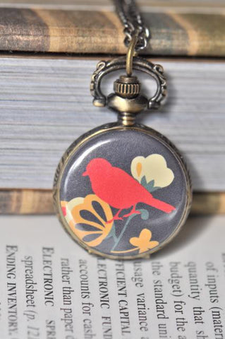 Bird and Blossom Pocket Watch Necklace