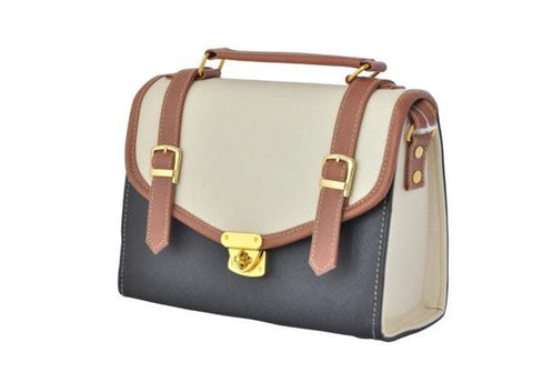 ca5ef8bf32cb Double Strap School Satchel in Black and Beige - Small