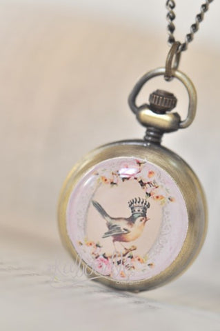 Blooming Queen Bird - Handmade Pocket Watch Necklace