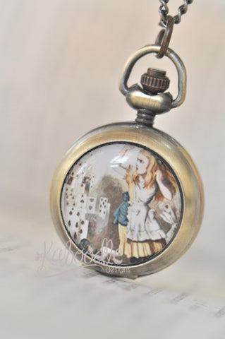 Alice attacked by Playing Cards - Handmade Pocket Watch Necklace