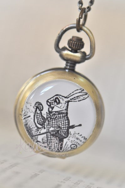 White Rabbit with Pocket Watch - Handmade Pocket Watch Necklace