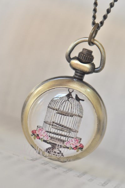 Victorian Bird Cage - Handmade Pocket Watch Necklace