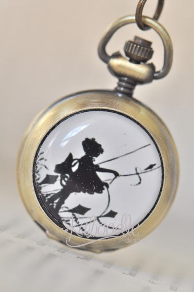 Handmade Artwork Stainless Steel Pocket Watch Necklace - Silhouette Girl Flying a Kite
