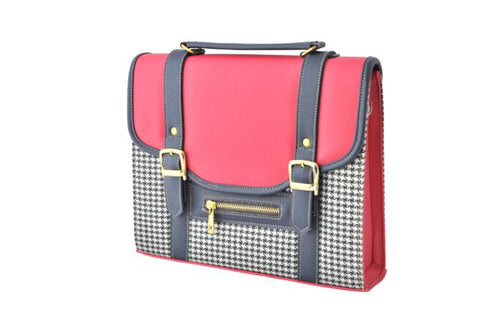 Coral Red and Houndstooth Satchel Bag