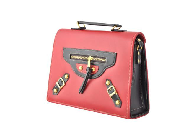 Retro Inspired Belt Buckle Box Bag in Red
