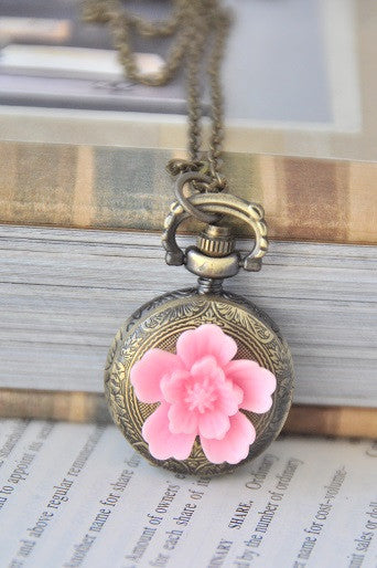 Pink Bloom - Pocket Watch Necklace