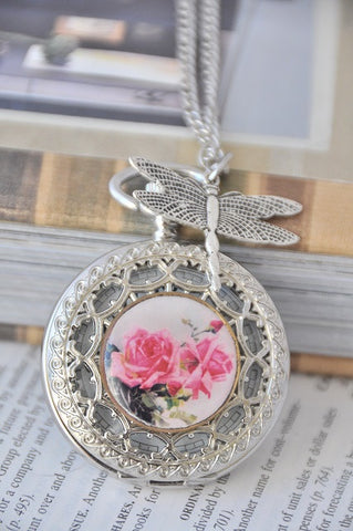 Charming Bouquet with Dragonfly - Pocket Watch Necklace
