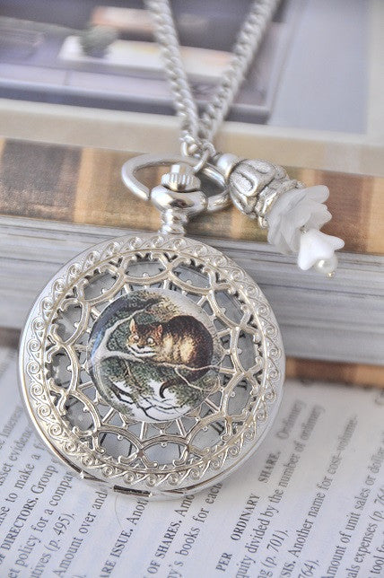 Cheshire Cat Resin Artwork - Pocket Watch Necklace