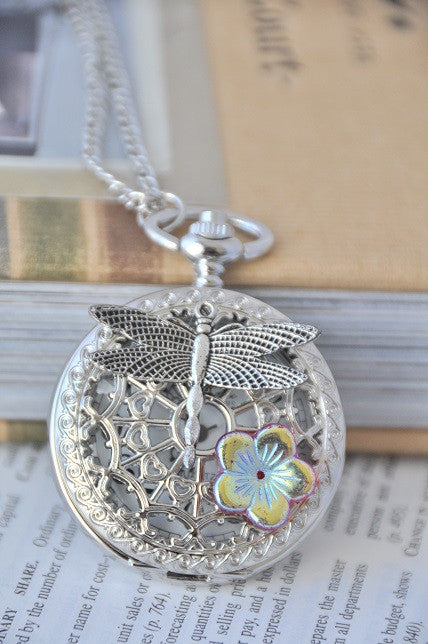 Dragonfly Sakura - Pocket Watch Necklace