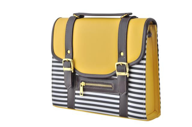 Mustard Yellow and Stripes Satchel Bag