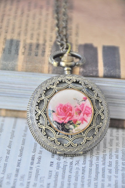 Pink Roses in Copper - Pocket Watch Necklace